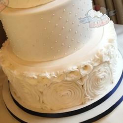 Rose Ruffle Wedding Cake Close Up