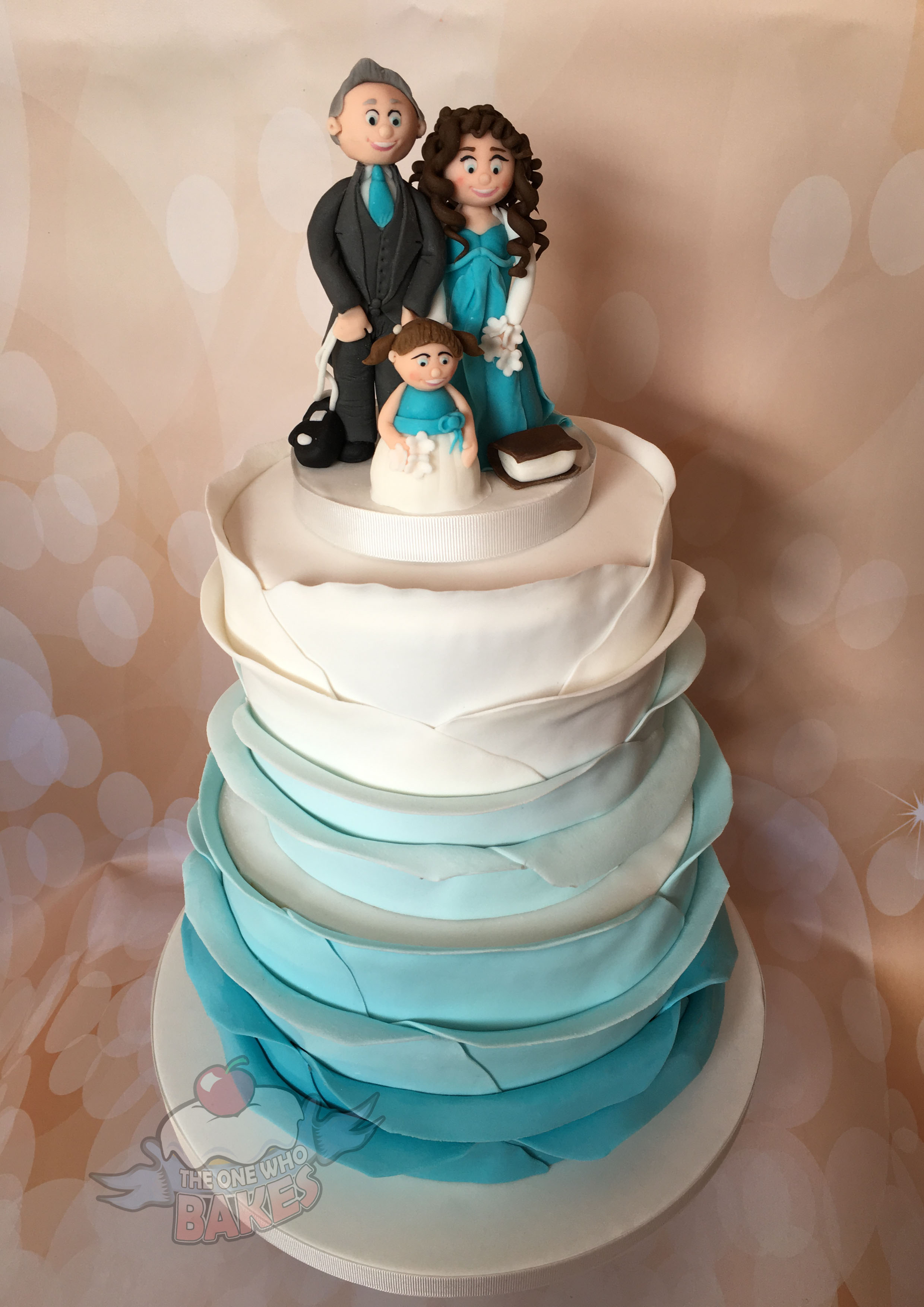 Ombre Aqua Wedding Cake