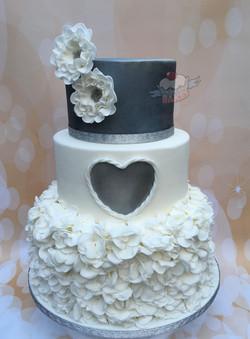 Heart & Ruffles Wedding Cake