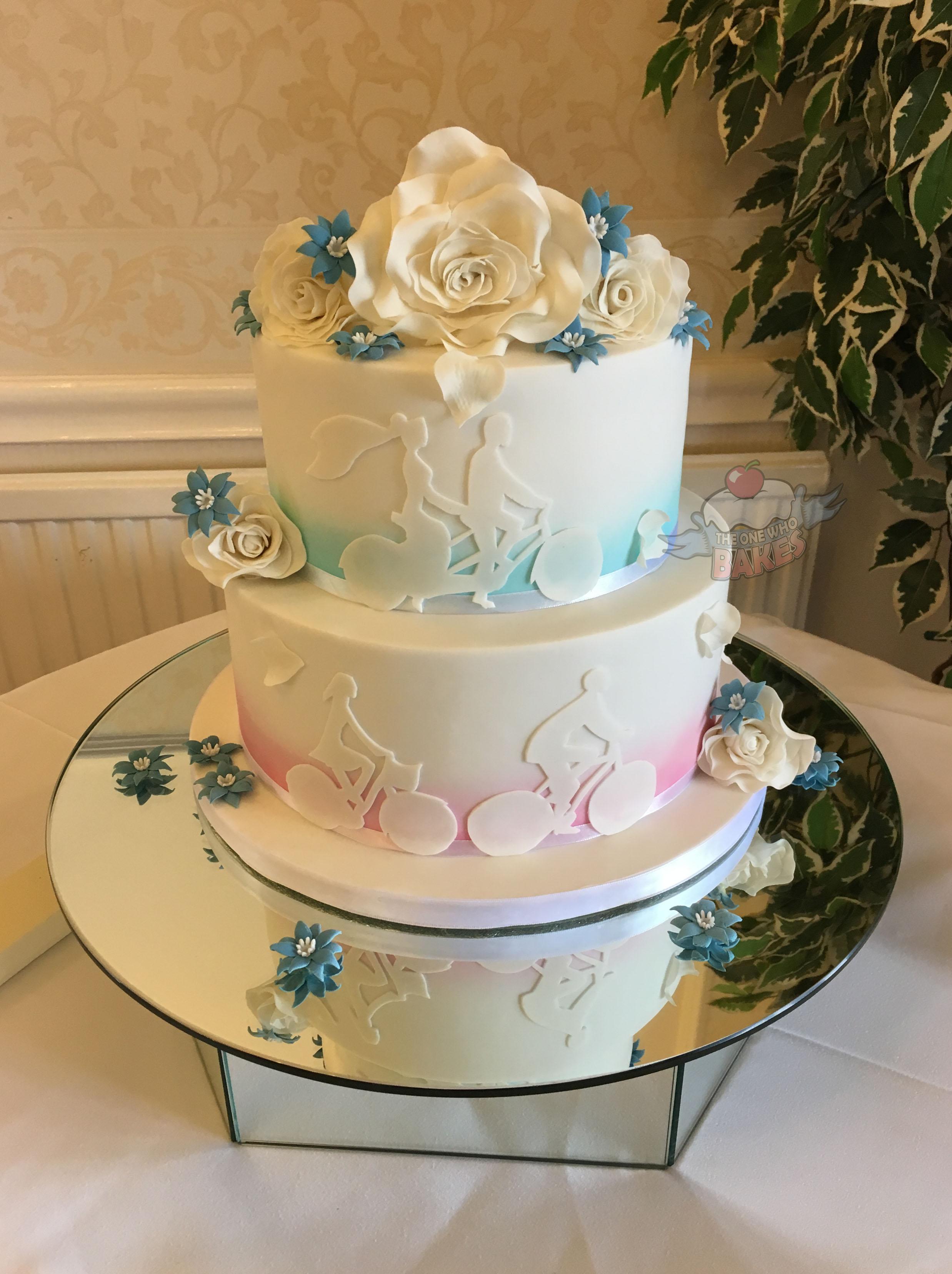 White Silhouette Wedding Cake