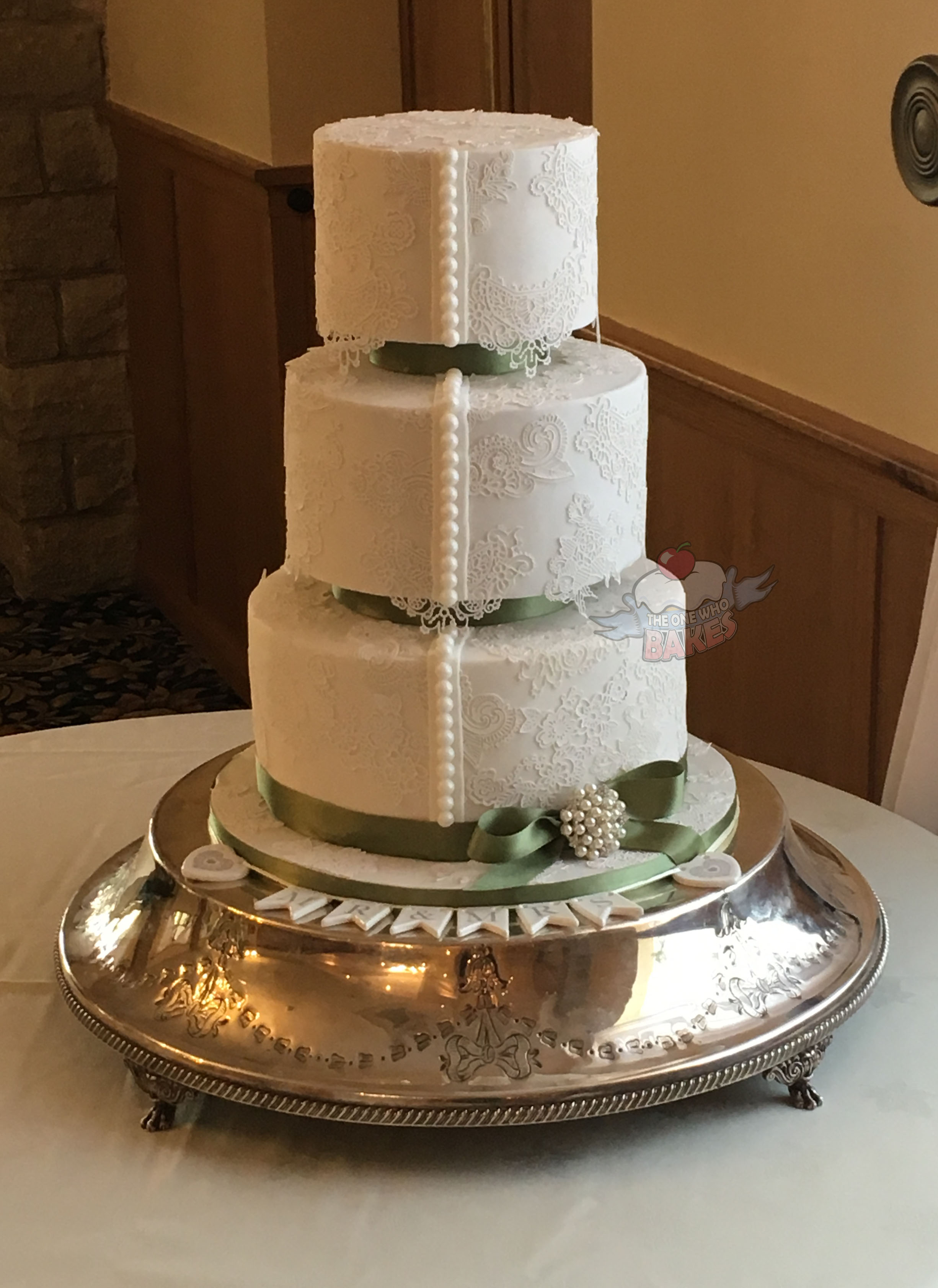 Lace Offset Wedding Cake
