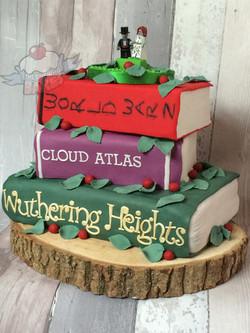 Rustic Book Stack Wedding Cake