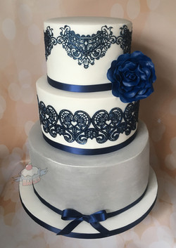 Silver & Navy Lace Wedding Cake
