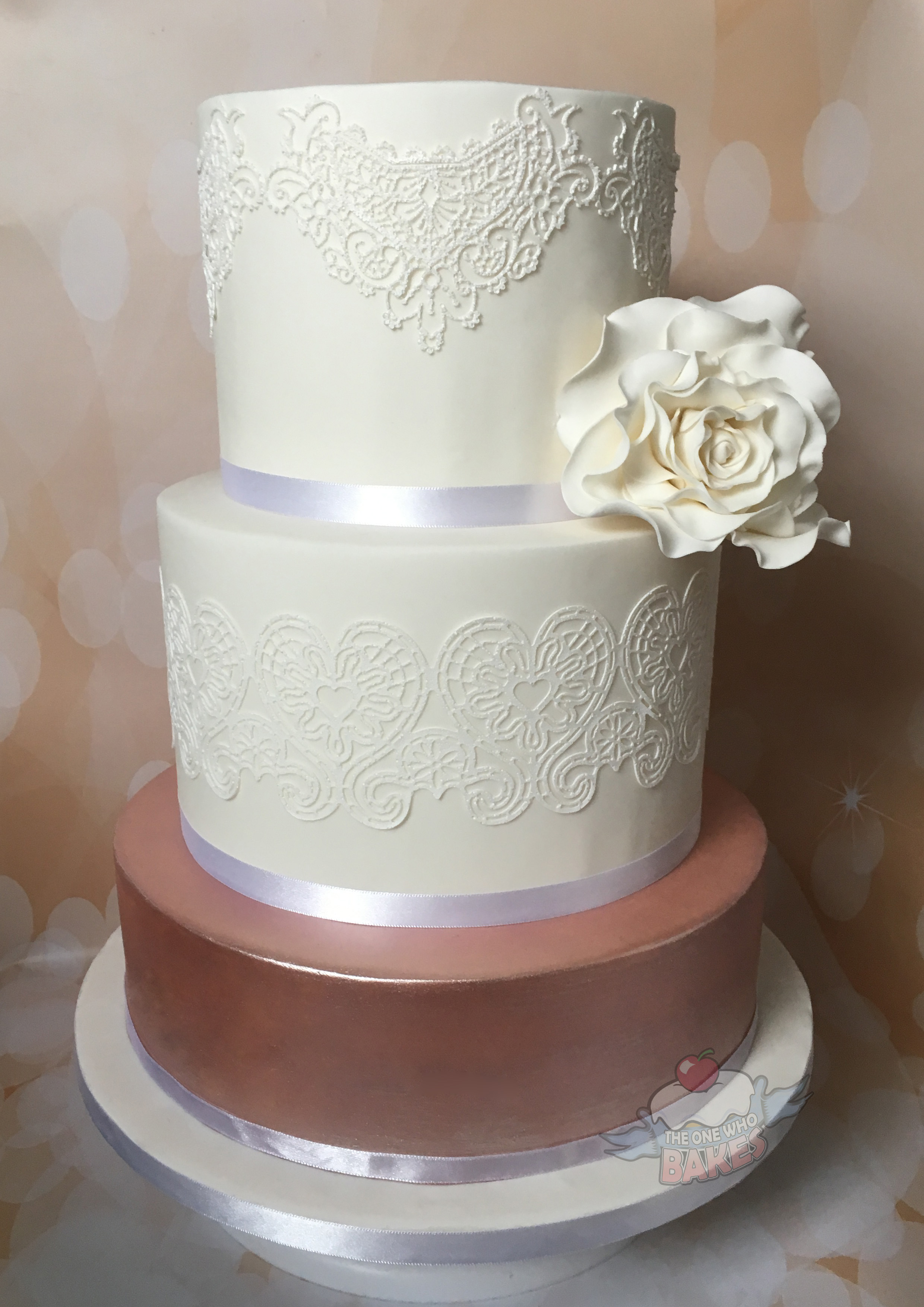 Rose Gold Lustre & Lace Wedding Cake