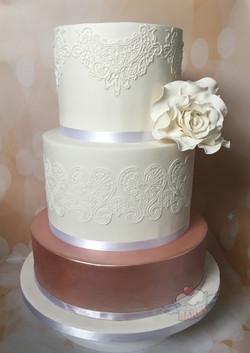 Rose Gold Lustre & Lace Wedding Cake