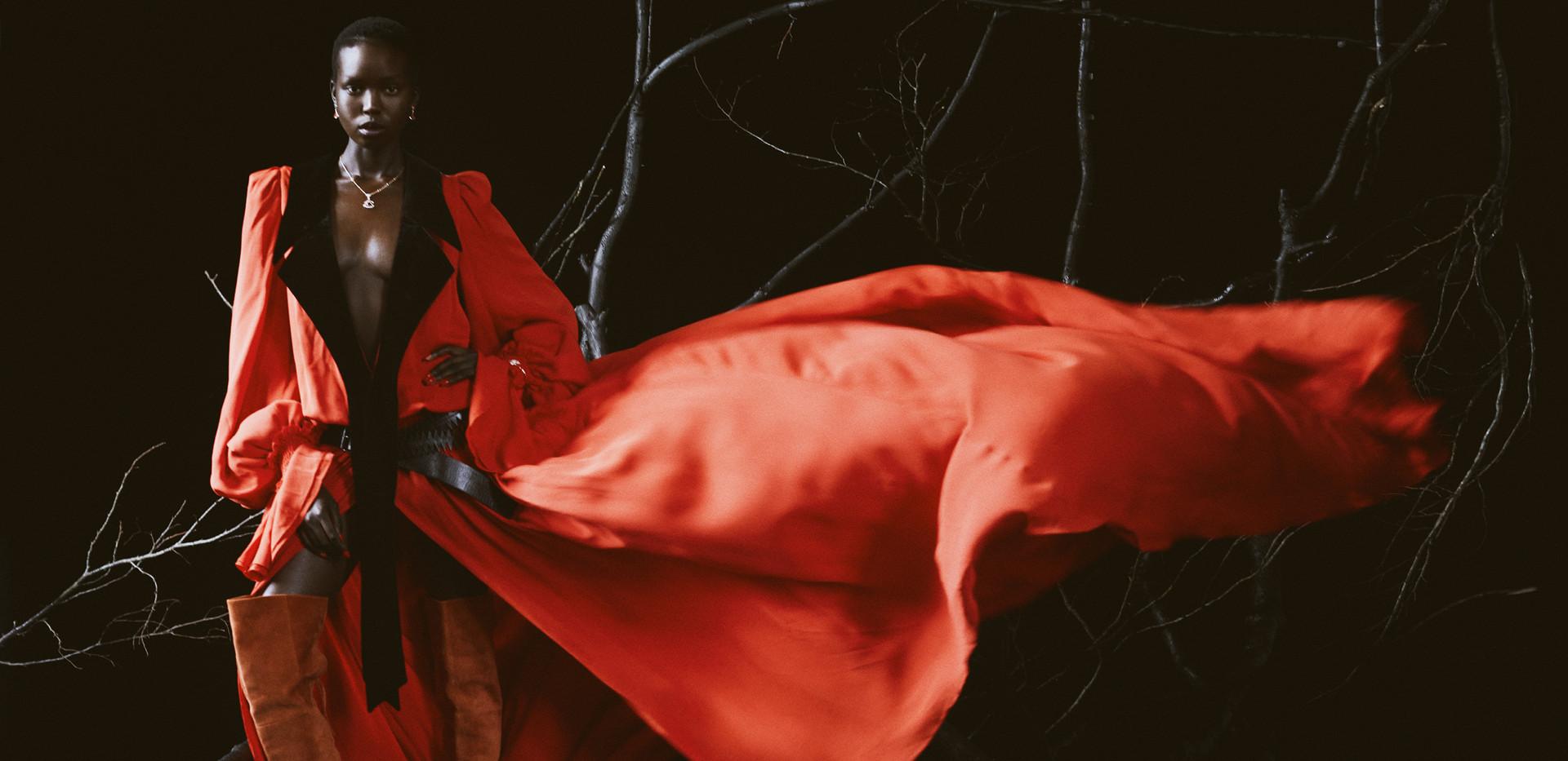 Photographer: David Reiss @davidreissphotography Stylist: Sayuri Bloom @addthatblack  Model: Ajok Madel @ajokmadel at Titanium Management  Casting director: Aleks Ivanof @ivanof_aleks Makeup Artist: Barrie Griffith @barriegmakeup Hair stylist: Sam Roman @manwigs  Manicure: Abena Lopes @abena_lopez_nails  Set designer: Lucy Wheeler  Video operator: Edward Japp @eddy_japp Assistant: Tayo Nelson Location: The Archives, London