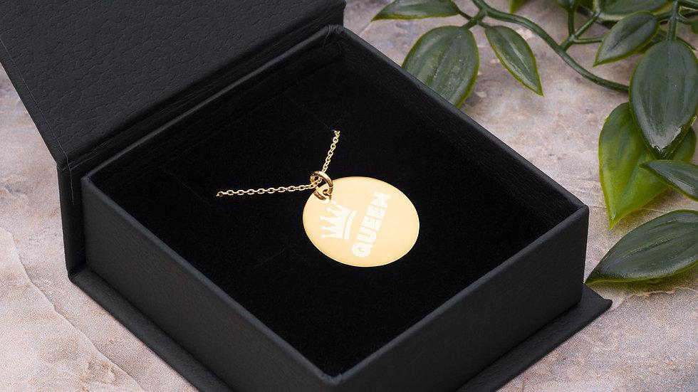 QUEEN Engraved Silver Disc Necklace