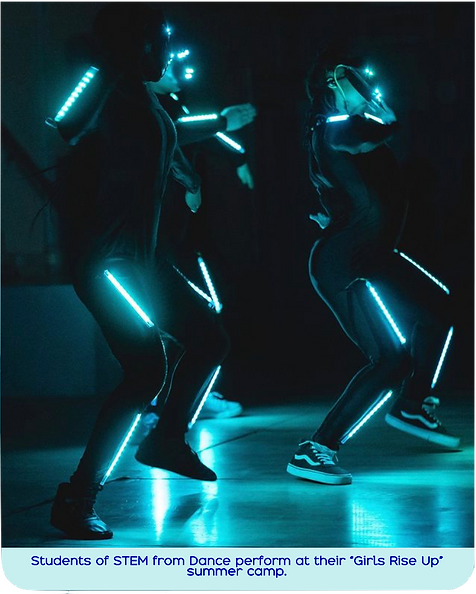 Young dancers of STEM from Dance move in a dark room with teal lights attached to themselves.