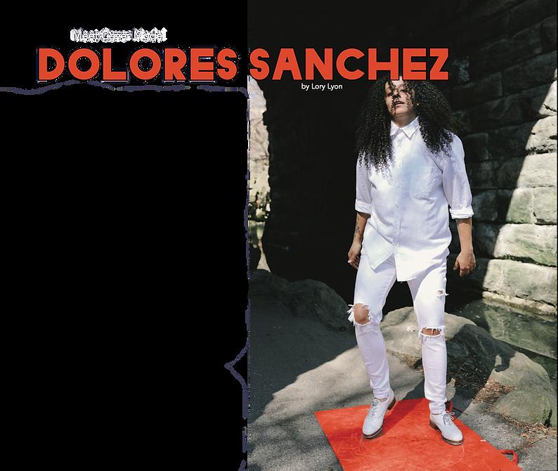 "Dolores Sanchez stands defiantly in all white under a stony bridge. Overlaid text reads ""Meet Cover Model Dolores Sanchez. By Lory Lyon"""