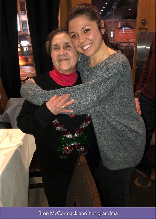 Bree McCormack hugs her grandma in a restaurant.