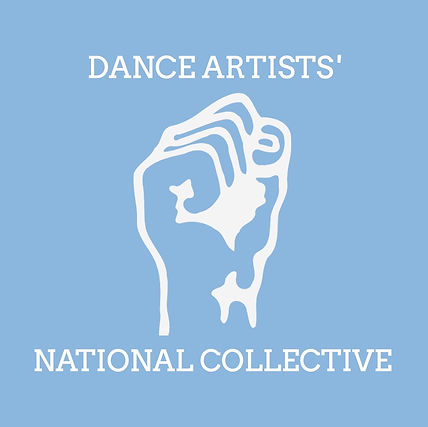 """A cartoon fist sits on a light blue background with text that reads """"DANCE ARTISTS' NATIONAL COLLECTIVE"""""""
