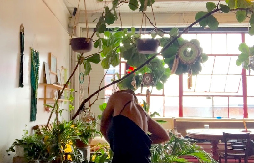 Amara Barner dances with her back to the camera in a plant-filled room.