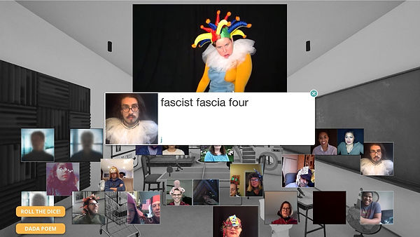 """Performers sit in their homes shown in squares in a virtual sound studio with someone dressed as a gesture in a square at the top. In center box is a title that reads """"fascist fascia four"""""""