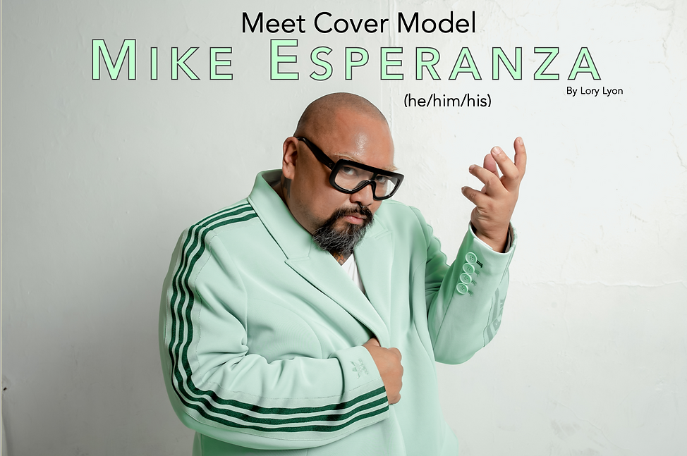 """Mike Esperanza, a Filipino man with a shaved head and a black goatee, poses in a mint green suit beneath a transposed title that reads """"Meet Cover Model Mike Esperanza (he/him/his) by Lory Lyon"""""""