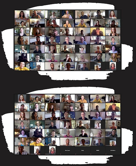Members of Dance Artists' National Collective pose in two screenshots from a recent zoom meeting.