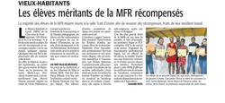 Les élèves méritants de la MFR récompensés - Article du 9 juillet 2018