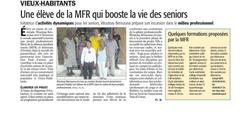 Une élève de la MFR qui booste la vie des seniors - Article du 22 janvier 2018