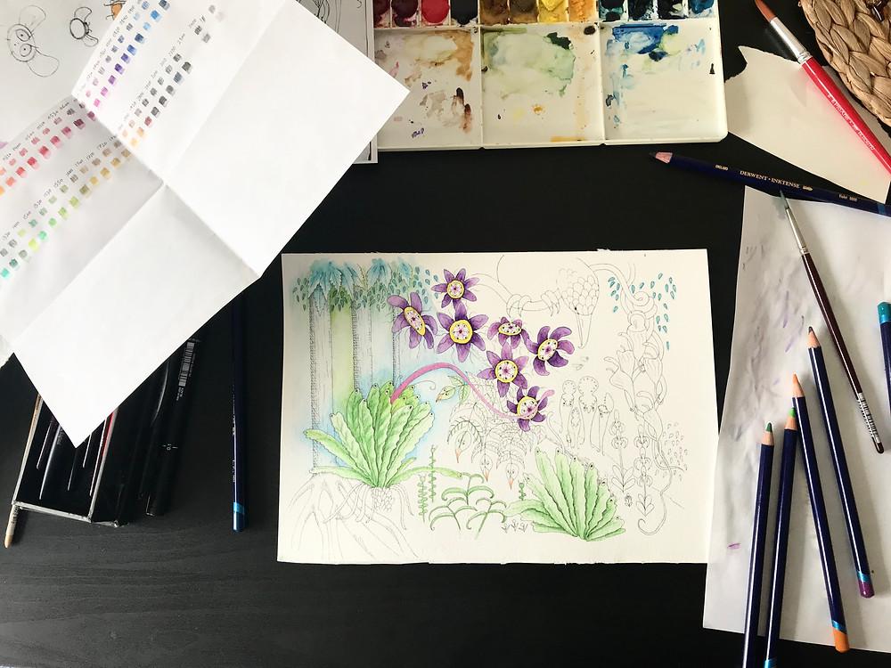 Adding watercolour pencil layers to children's book illustration.