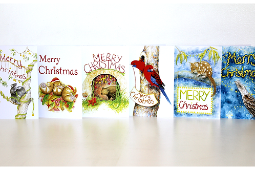 6 pack Australian Christmas Card nature themed