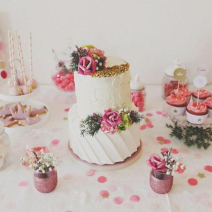 (t) Dimanche - Petitpot pailleté avec fleur papier
