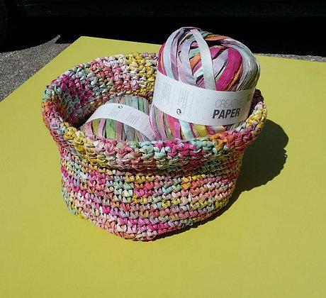 Dimanche - Atelier crochet : panière en raphia