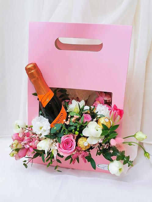 Punga cadou cu mini șampanie & Ferrero Rocher