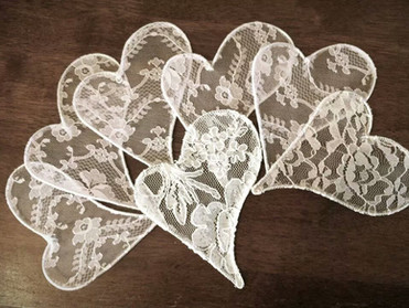 Lace Hearts - Handmade. They are on their way