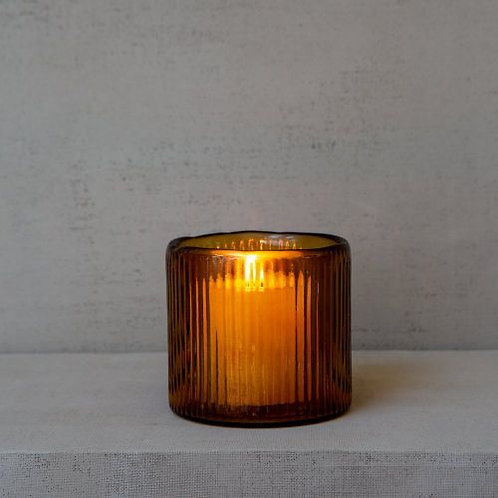 Ribbed Hurricane Vase in Amber Glass