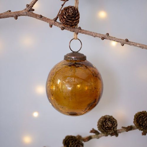Vintage Amber Glass Bauble