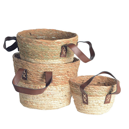 Seagrass Baskets with Handles- Set of 3