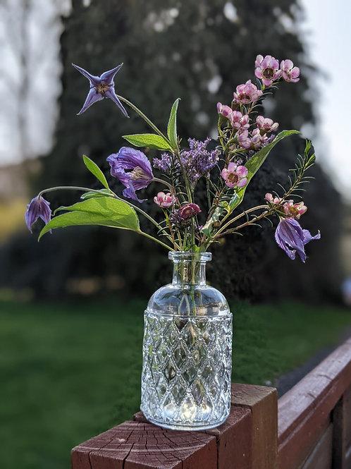 Glass Bottle Vase- Diamond