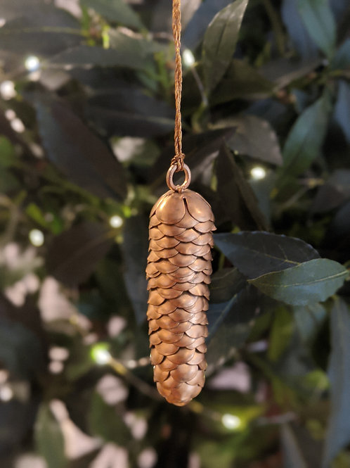 Gold Metal Hanging Fir Cone Decoration