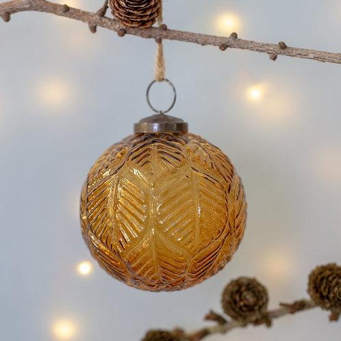 Vintage Amber Glass Leaf Design Bauble