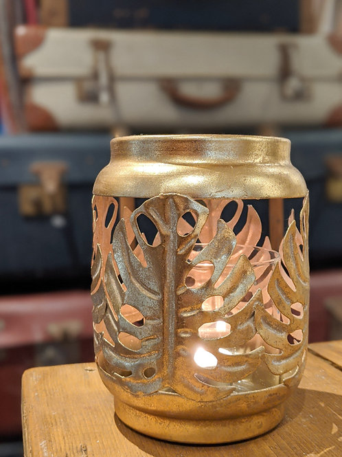 Gold Tropical Leaf Storm Jar