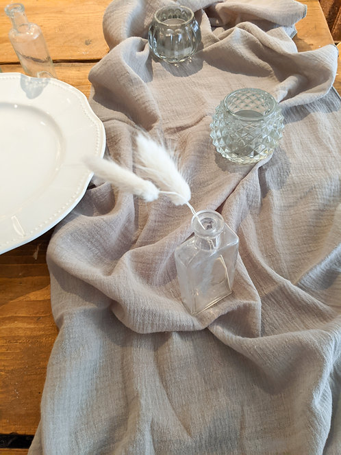 Light Grey Cheesecloth Table Runner