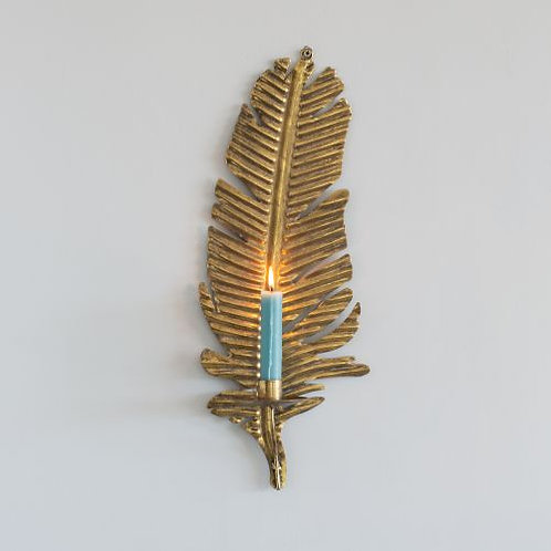 Gold Feather Wall Sconce