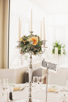 SILVER CANDELABRA TABLE DECOR