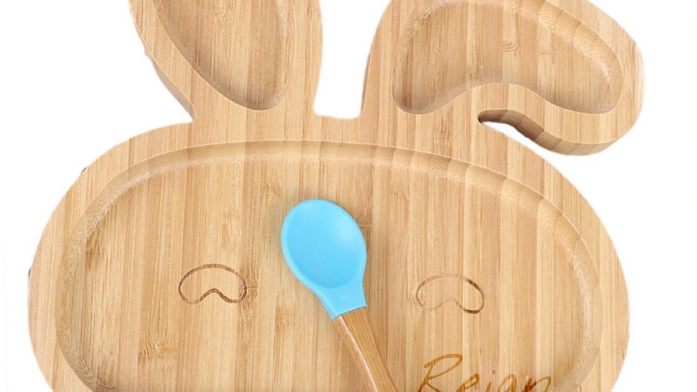 Bamboo Animal Kids Plate with Suction
