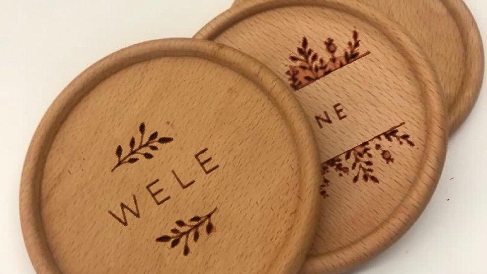 Customised Beech Wood Coaster