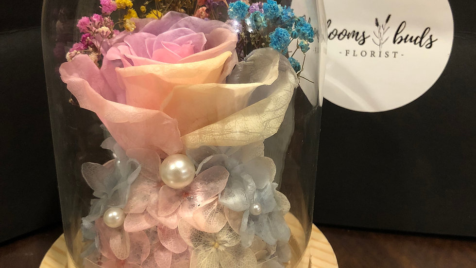 Rainbow Hearts Preserved Rose Dome