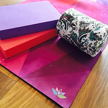 Yoga mats, block and roll