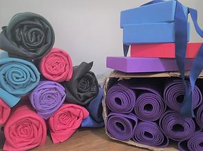 Yoga mats and blocks