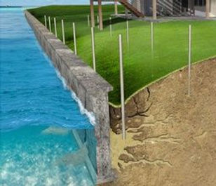 Concrete Seawall Repair Prevent Erosion.