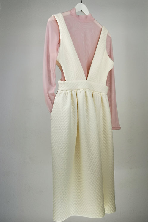 Vestido acolchado+ body transparente