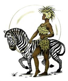 female warrior & zebra.jpg