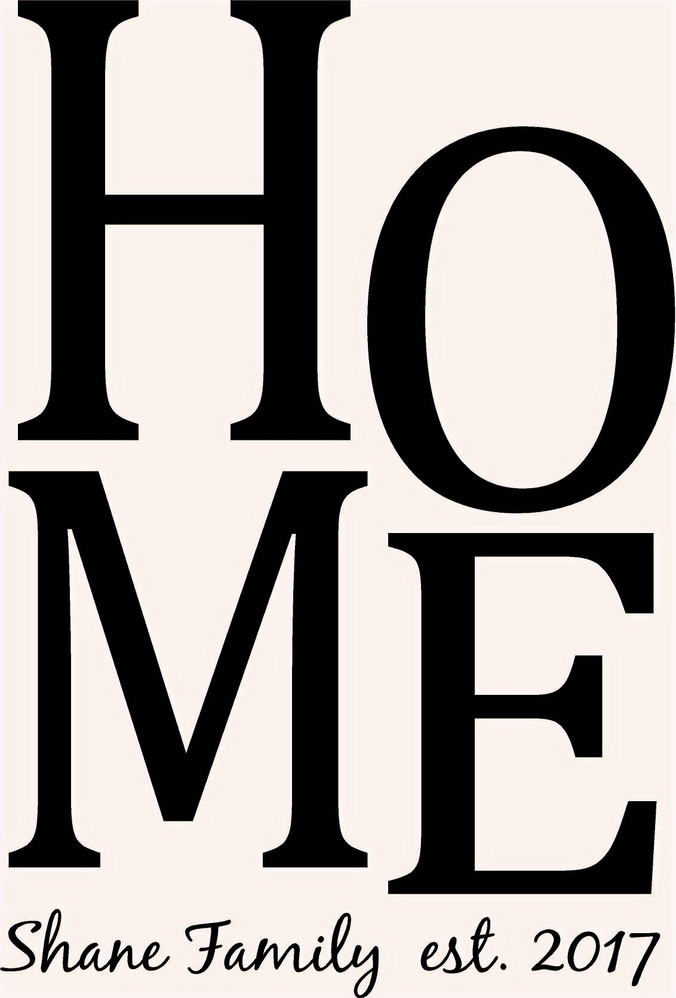 HOME w/Family Name Est 16X24