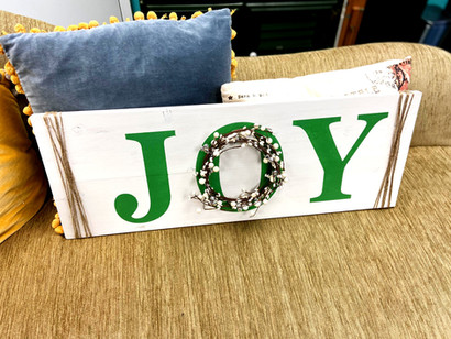 JOY with wreath