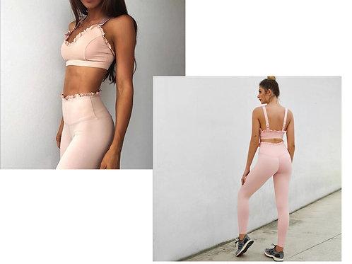 Luxury Yoga/Gym Wear - Soft Pink Crop set