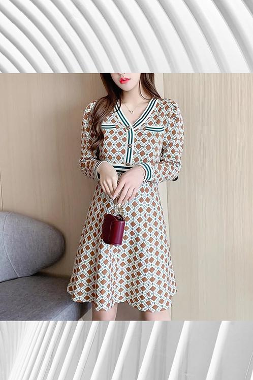 French Plaid Sweater Dress
