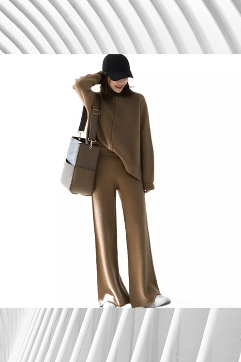 Cashmere Mix Oversized Sweater and Tight Flared Pant Set